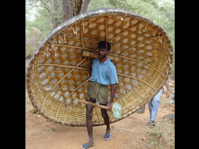 Coracle carried by one person