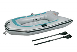Inflatable boat and paddles